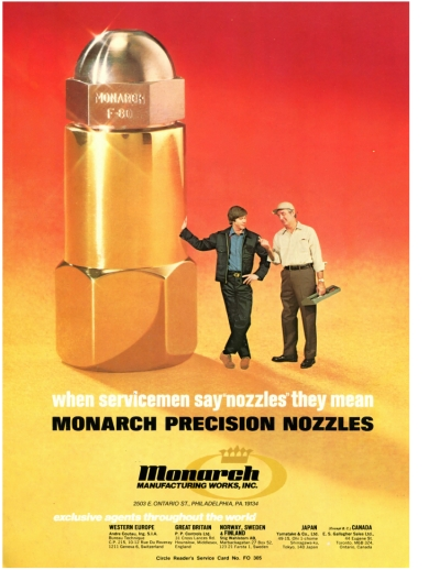 "when servicemen say ""nozzles"" they mean Monarch Precision Nozzles"